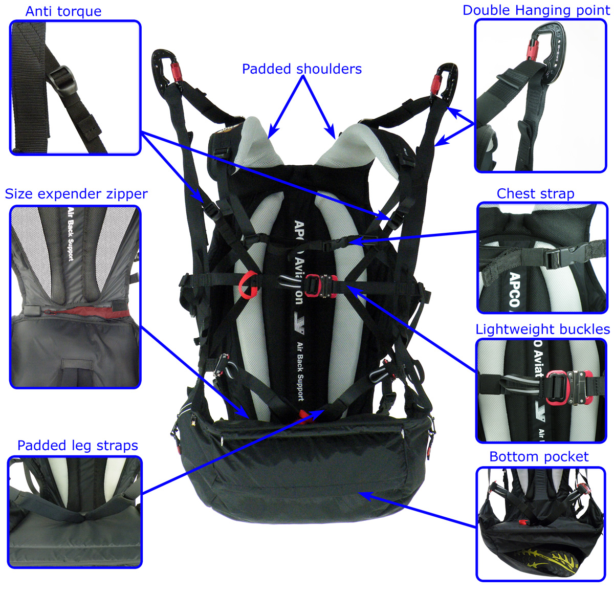 SLT PM High Hook-In harness features
