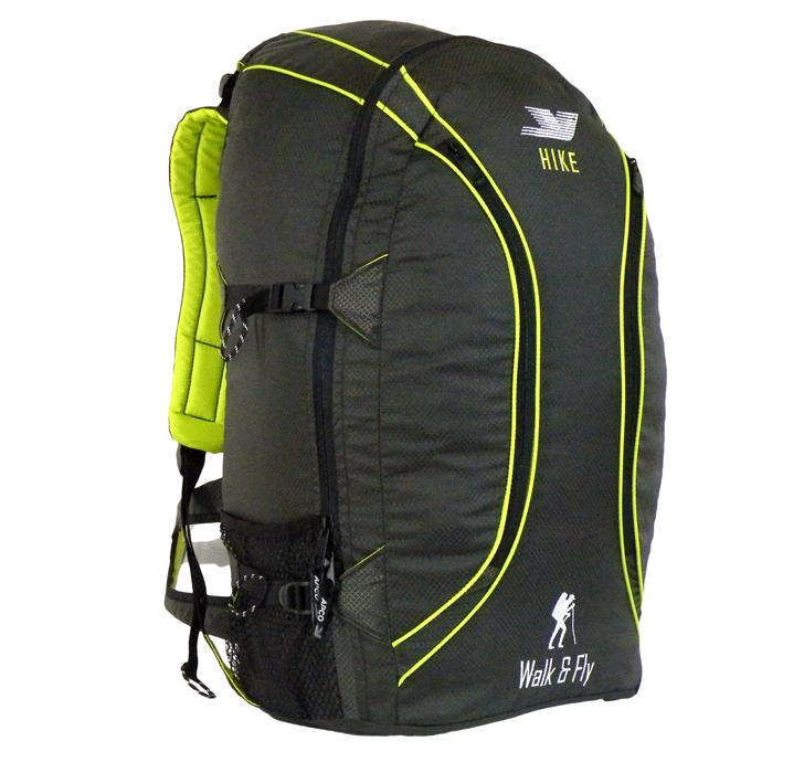 Reversible - Converts into comfortable Backpack, large enough to fit a regular paraglider and an open face helmet